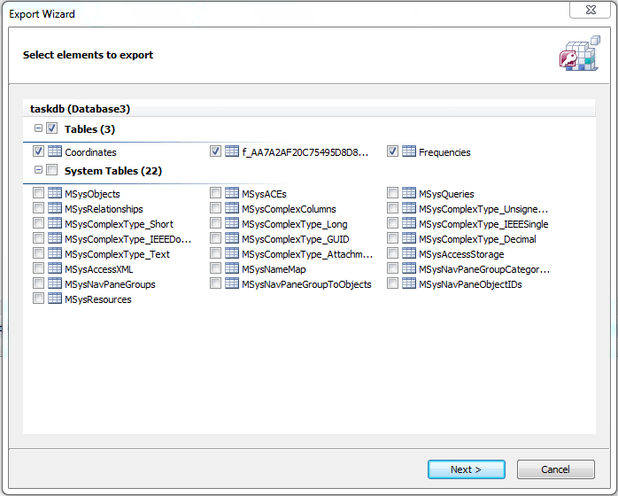 Access Recovery elements to export