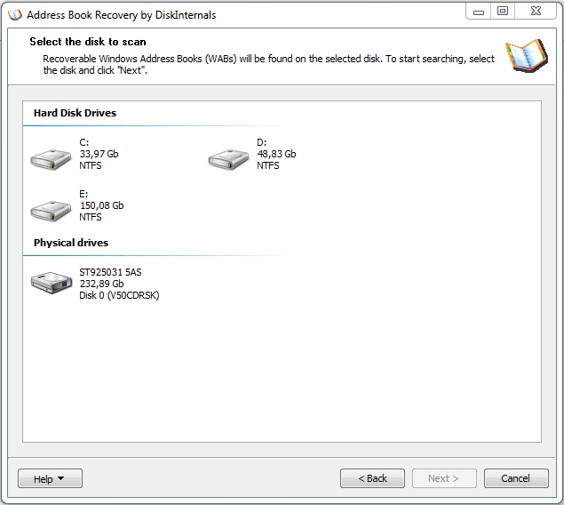 Address book recovery select the disk