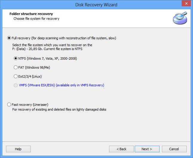 Unformat drive. Restore files from NTFS