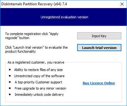diskinternals partition recovery 7.4 registration key