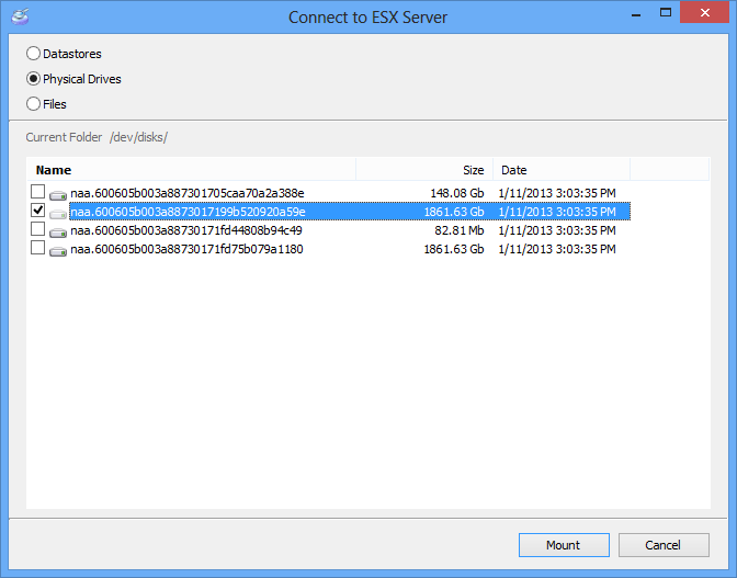 mounting a physical ESX (ESXi) hard drive