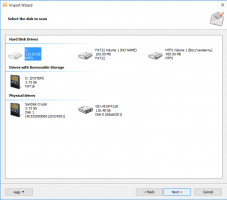 Select disk for scanning in Outlook Recovery