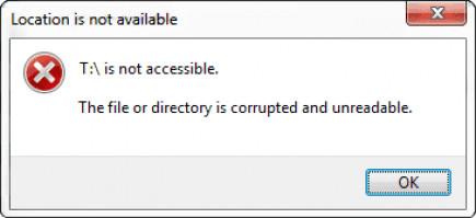Error 1392 - El archivo o directorio está corrupto e ilegible.