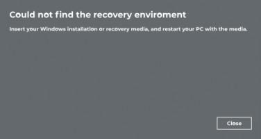 Could not find the recovery environment.