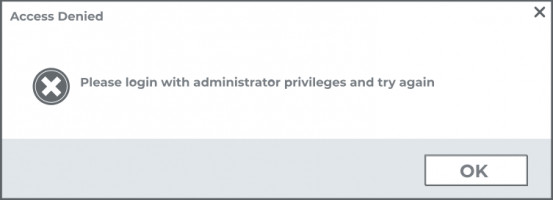Please login with administrator privileges and try again.