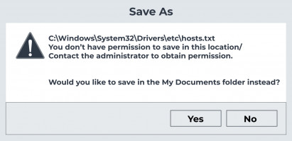 you do not have permission to save files to this location