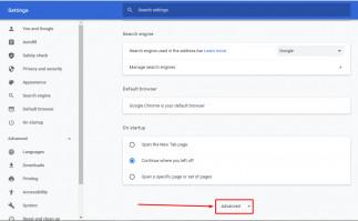 Step 2 - Google Chrome Advanced section