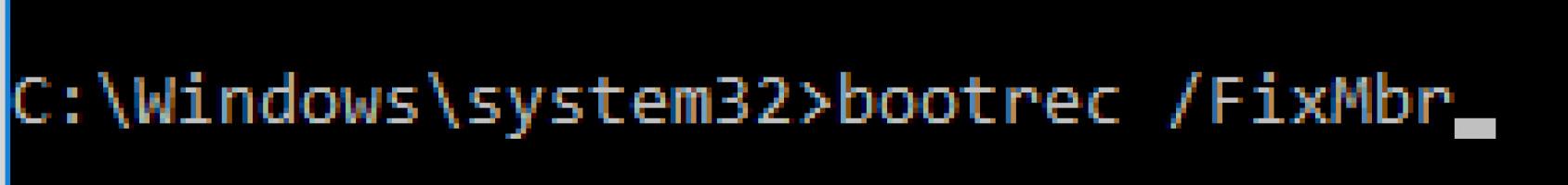 Use bootrec fix mbr command to fix machine_check_exception error