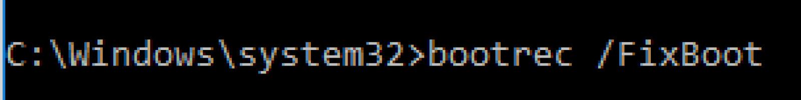 Use bootrec fix boot command to fix machine_check_exception error