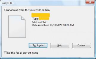 No puede leer del archivo fuente o del disco.