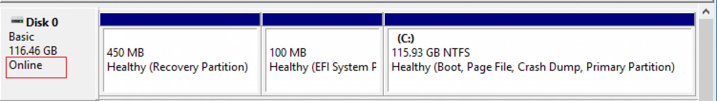 Vérifiez si votre disque est marqué en ligne dans diskpart ou faites-le en ligne