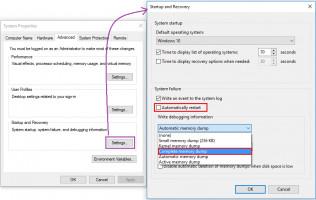 Utilizar la configuración del volcado de memoria para solucionar el problema del PC.