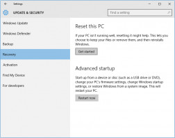 Windows 10 - Update and Security - Recovery option