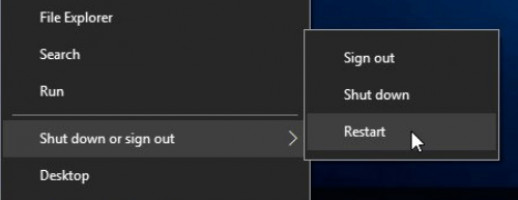 Restart PC, not Shut down.