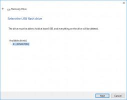 Wählen Sie das USB-Laufwerk, um ein Wiederherstellungslaufwerk zu erstellen