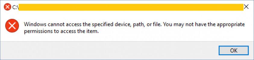 Windows no puede acceder a la ruta del dispositivo especificado o al problema del archivo.