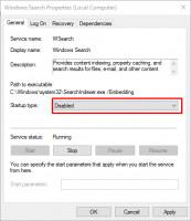 En las propiedades de búsqueda de Windows, elige deshabilitar y evitarás el uso al 100 por ciento del disco