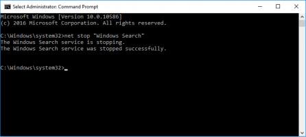 escribe el comando: net stop windows search en el símbolo del sistema